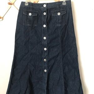 Talbots Long Denim Skirt Size 8